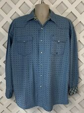 Roper Western Rodeo Shirt Mens Size L Blue Pearl Snap Button Front Flip Cuff