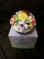 "Royal Doulton Fine Bone China Flowers Roses Vase in Pot  Figurine 4.5""w x 4""h"