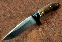 Elk Ridge Premium EDC Burl Wood Fixed Blade Knife Full Tang w/Leather Sheath