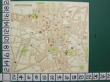 c1880 ANTIQUE MAP ~ CHELTENHAM PLAN ~ STATIONS BATH SPA THATRE CHURCHES SCHOOLS