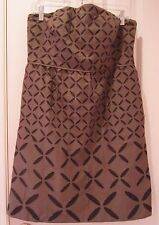 J. Crew Ginny Dress Size 12 Brown Eyelet Strapless Lined Cotton Sundress # 25551