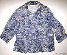 COLDWATER CREEK Womens Plus 18 1X 2X JACKET Blue White Print Coat Blazer