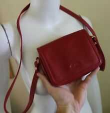 New Authentic Vtg Longchamp Small Organized Red Leather Shoulder Bag Purse