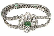 Estate 1950's 6.45 ctw. Diamonds Emeralds Bracelet 14k White Gold 7' inch 55.2 g
