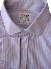 TM LEWIN LUXURY Shirt Mens 17 L Lilac - Stripes SLIM FIT