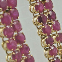 Ruby and 18 carat gold dangle drop stud earrings 5 grams butterfly backs