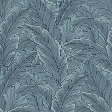PEAR Tree Tropical Leaves Steel Blue Glitter Wallpaper - UK10012