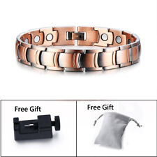 Men Healthy Copper Magnetic Therapy Bracelet Power Energy Arthritic Pain Relief