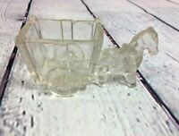 "Vintage Donkey Horse Cart Toothpick Holder Clear Glass Kitchenware - 2"" T x 4.5"""