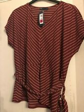 rust stripe tunic top size 18 with belt overtop long v neck