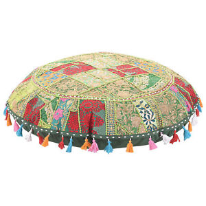Round Pouf Ottoman Cover Foot Stool Indian Patchwork  Moroccan Pouffe Cover