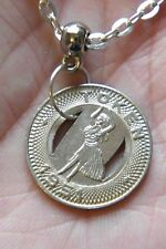 "HAWAII TOKEN Necklace 1951 Honolulu Transit Hula Dancer! 21"" Silver Plated Chain"