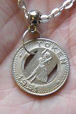 """HAWAIIAN Necklace Hula Dancer Honolulu Coin 1951 Transit Token! 21"""" Silver Chain"""