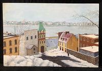 Vintage Original Painting Board Winter City Seaside East  Coast Town Oil? Signed