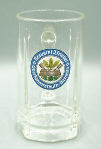 Brauerei J. Friedel - Glasbierkrug um 1920 - 8/20L - TOP-Stegglas - geätzte Eich