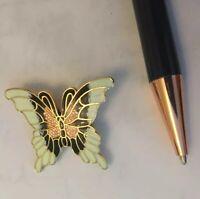 VINTAGE Art Nouveau 1980s brooch.Cloisonne Enamel Butterfly.Goldtone.UK SELLER