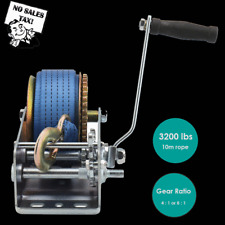 3200lbs Dual Gear Hand Winch Hand Crank Manual Boat Atv Rv Trailer 33ft Strap Bp