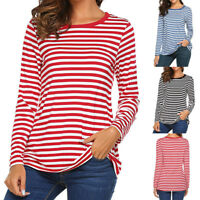 Women Long Sleeve Casual Round Neck Basic T-Shirt Striped Shirt Tunic Top Blouse