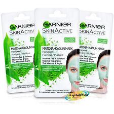 3x Garnier Oily SkinCare Purifying Active Facial Face Mask 8ml Matcha No Paraben