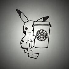 Pokemon Pikachu Coffee Anime Manga Japanese Vinyl Wall Car Window Sticker  Decal