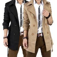 Men Slim Double Breasted Trench Coat Long Jacket Overcoat Outwear Warm Winter aa