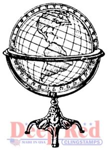 Deep Red Stamps Antique Globe Rubber Cling Stamp