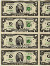 Uncut Federal Reserve Note $2.00 Sheet of 8: L-San Francisco: Series 2003A: BP2