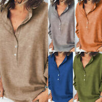 Fashion Women Cotton Linen Short Sleeve V-Neck Button T-Shirt Tee Blouse Tops UK
