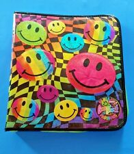 Vtg Lisa Frank Fashions Smiley Face Holographic 3 Ring Zipper Binder Note Book