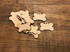 10x 3mm MDF Wooden Dog Bone Tag. Craft embellishments 34mm x 50mm
