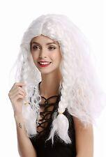 Perücke Damen Herren lang weiß geflochtene Zöpfe Eisprinzessin alter Wikinger