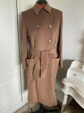 Jaeger Wool And Cashmere Coat Size 12+ Tie Waist Brown Tan Button Up RRP £399