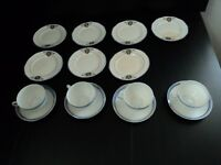 16 Crescent China pieces from 1800's = 7  Plates + 4 Opalescent Cups + 5 Saucers