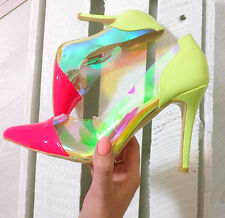 Ladies Pink High Heels Contrast Holographic Pointed Toe Neon Summer Heel Size 2