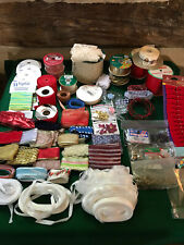 Craft supplies Ribbons Beads Bells - A Full Box Lot