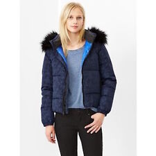 GAP NAVY CAMO FAUX FUR HOODED PUFFER COAT JACKET  Small  S