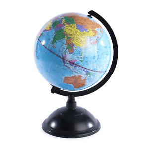 Rotating Colour Globe 20cm Diameter Small World Atlas & Desk Accessory Pukkr