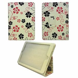 CASE FOR APPLE IPAD AIR WHITE PINK GREY FLOWER SWIRL DESIGN PU LEATHER COVER