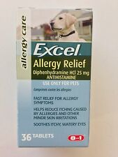 Excel Allergy Relief for Dogs Itching Skin 36 Antihistamine Tabs 25 mg by 8 in 1