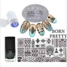 6Pcs Born Pretty Ethnic Nail Art Image Stamp Plates Polish W/Stamper Scraper Kit