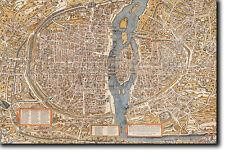 MAP OF PARIS FROM 1550 - HISTORIC OLD VINTAGE PHOTO PRINT POSTER - FRANCE