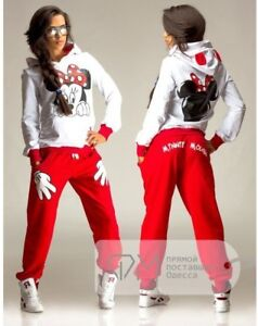 Micky Mouse Print Tracksuit Girls Wear Red