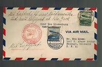 1936 Frankfurt Germany LZ 129 Hindenburg Zeppelin first flight cover to USA FFC