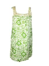 River Island Green Cream Floral Cotton Pockets Dress Shell Embellished Size 14