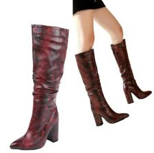 Women Trendy Knight Pull on Mid Calf Boots Pointy Toe Block Heel Shoes Outdoor L
