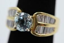 STUNNING 18K SOLID GOLD 1.40CT AQUAMARINE & 28 NATURAL DIAMONDS SIZE 6.25 RING