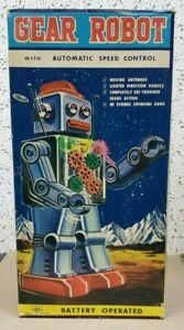 Vintage Horikawa 60's Gear Robot in Original Box Battery Operated 11.5 inches