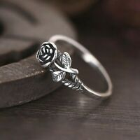 Fashion Rose Flower Silver Jewelry Wedding Rings for Women Ring Size 6-10