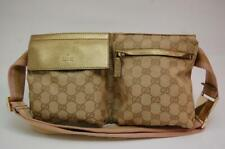 Gucci GG Canvas Monogram Waist Pouch Belt Bum Bag Fanny Pack  1017a