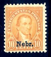 US  #679  Mint-Very Lightly-Hinged [VLH] ~ 1929  Nebraska ['Nebr.'] Overprint